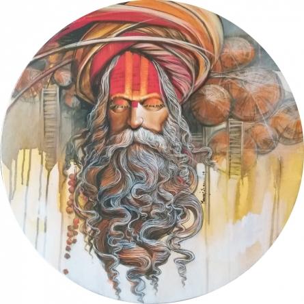 Religious Acrylic Art Painting title 'Sadhu 2' by artist Manoj Das