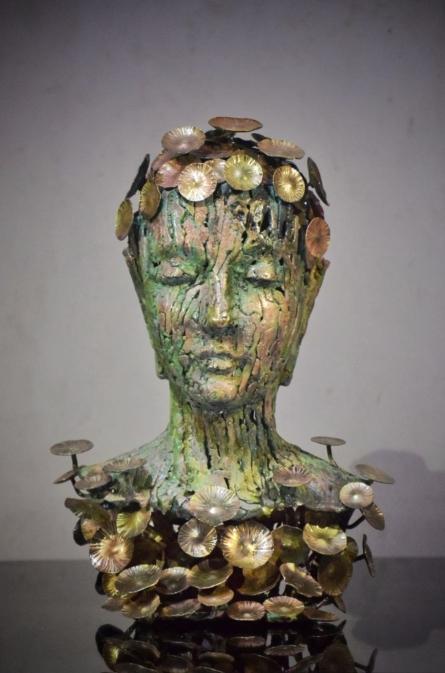 Buddha With Nature | Sculpture by artist Dinesh Singh | Brass