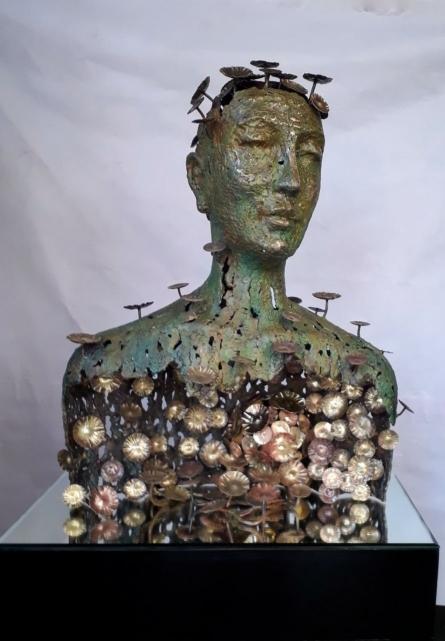 Brass Sculpture titled 'Inner Strenght' by artist Dinesh Singh