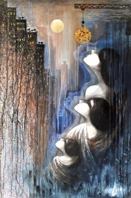 contemporary Acrylic Art Painting title Dream Vs Reality by artist Arabinda Samanta