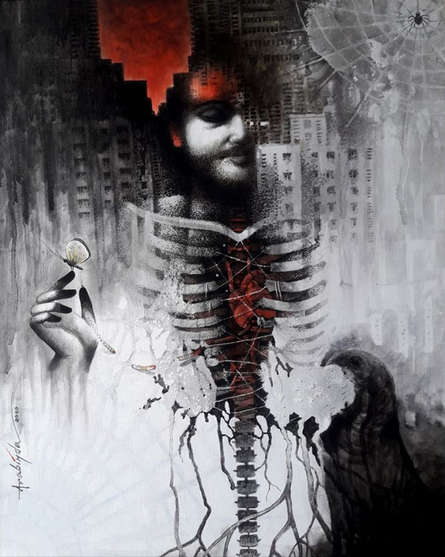 Figurative Acrylic Art Painting title Metamorphosis by artist Arabinda Samanta