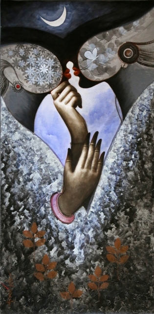 Figurative Acrylic Art Painting title 'Romancing With The Moon' by artist Arabinda Samanta