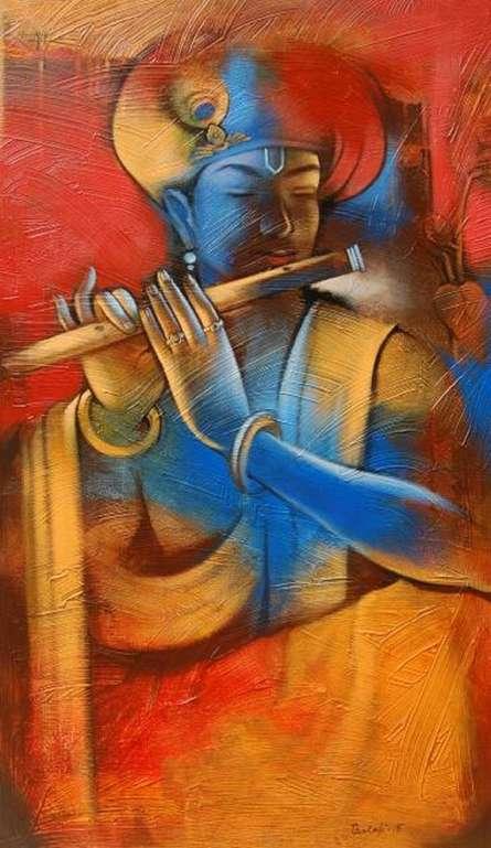 Religious Acrylic Art Painting title 'Krishna Playing Flute 1' by artist Balaji Ubale