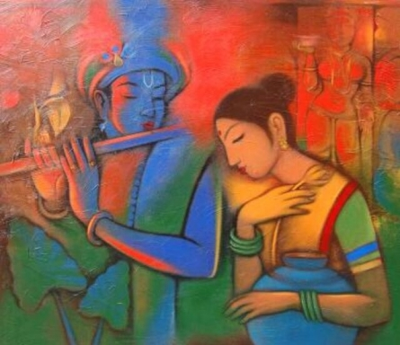 Balaji Ubale | Acrylic Painting title Radha Krishna 1 on Canvas | Artist Balaji Ubale Gallery | ArtZolo.com