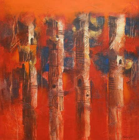 Abstract Acrylic Art Painting title 'Four Mundas' by artist Balaji Ubale