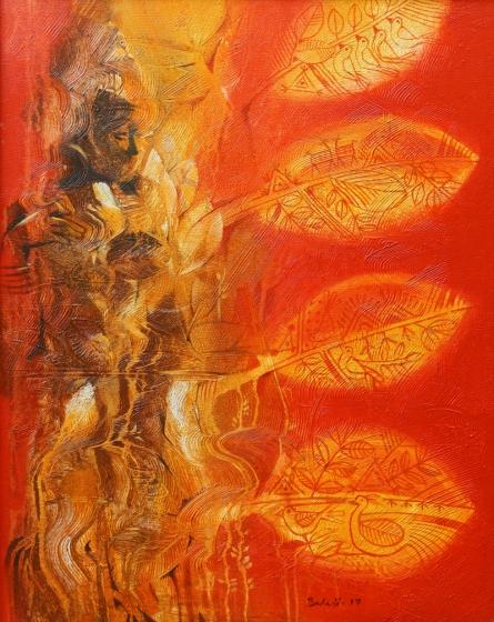 Nature Acrylic Art Painting title 'Goddess Of Nature' by artist Balaji Ubale