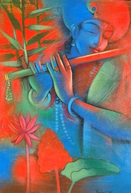 Religious Acrylic Art Painting title Krishna Playing Flute 2 by artist Balaji Ubale