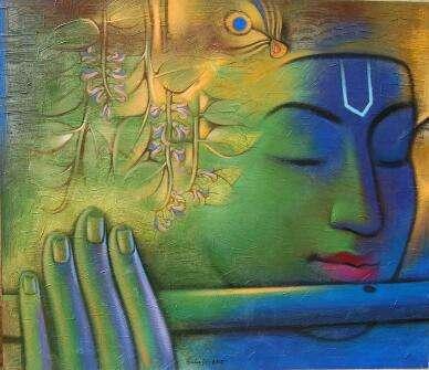 Religious Acrylic Art Painting title 'Krishna Playing Flute 3' by artist Balaji Ubale