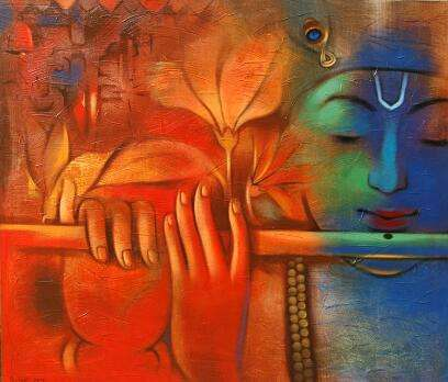 Religious Acrylic Art Painting title 'Krishna Playing Flute 4' by artist Balaji Ubale