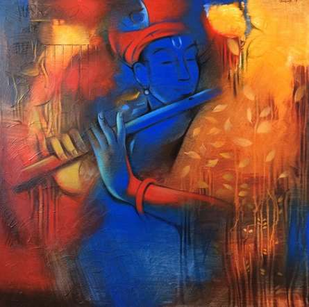 Balaji Ubale | Acrylic Painting title Krishna Playing Flute 5 on Canvas | Artist Balaji Ubale Gallery | ArtZolo.com