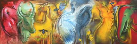 Animals Acrylic Art Painting title Origin Of Swara by artist Balaji Ubale