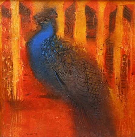 Animals Acrylic Art Painting title 'Peacock' by artist Balaji Ubale