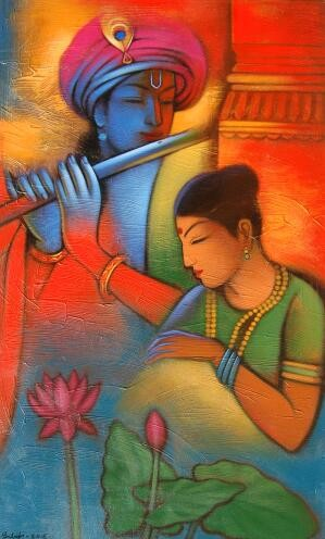 Religious Acrylic Art Painting title Radha Krishna 2 by artist Balaji Ubale