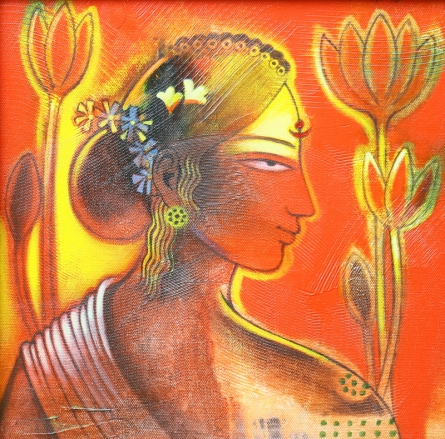 Figurative Acrylic Art Painting title 'Tribal Lady' by artist Balaji Ubale