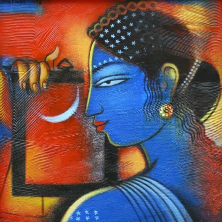 Figurative Acrylic Art Painting title 'Tribal Lady 2' by artist Balaji Ubale