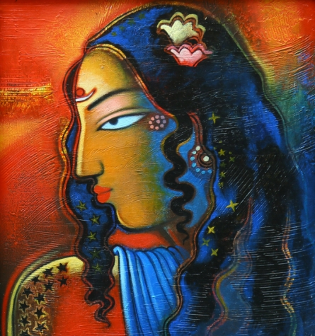 Figurative Acrylic Art Painting title 'Tribal Lady 4' by artist Balaji Ubale