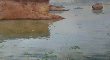 Seascape Watercolor Art Painting title 'A Moment At River' by artist Harshwaradhan Devtale