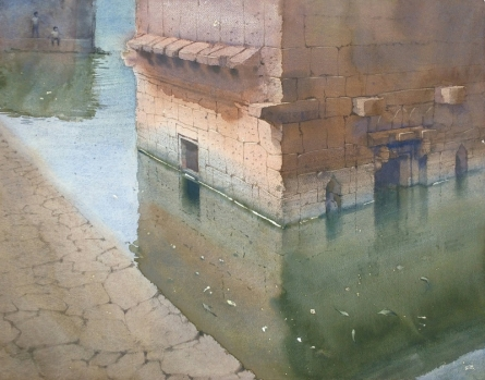Landscape Watercolor Art Painting title 'Reflection' by artist Harshwaradhan Devtale