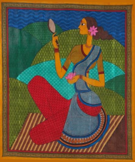 Jasminder Kaur | Women With Mirror Printmaking by artist Jasminder Kaur | Printmaking Art | ArtZolo.com