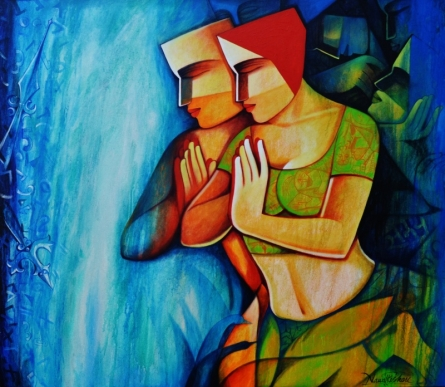 Figurative Acrylic Art Painting title Life 153 by artist Nawal Kishore