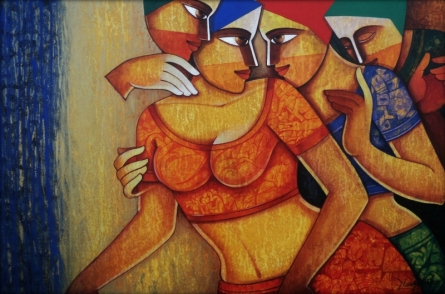 Figurative Acrylic Art Painting title 'Life 94' by artist Nawal Kishore