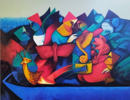 Figurative Acrylic Art Painting title The Journey by artist Nawal Kishore