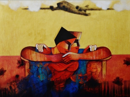 Figurative Acrylic Art Painting title The Life by artist Nawal Kishore
