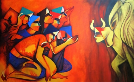 Figurative Acrylic Art Painting title The Nandi by artist Nawal Kishore