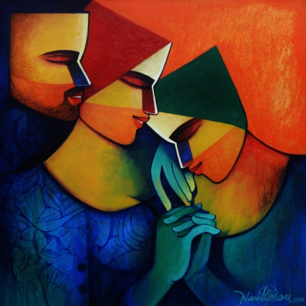 Figurative Acrylic Art Painting title 'Untitled 1' by artist Nawal Kishore