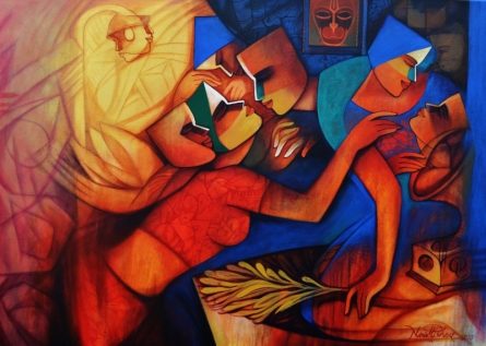 Figurative Acrylic Art Painting title Untitled 4 by artist Nawal Kishore
