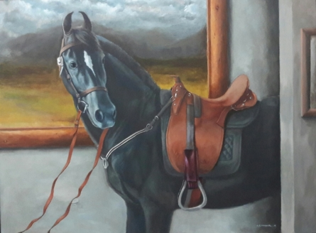 Animals Acrylic Art Painting title 'Horse 2' by artist Sarang Pharate