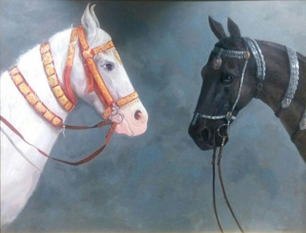 Animals Acrylic Art Painting title Two Horse by artist Sarang Pharate