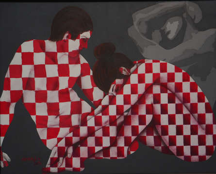 Figurative Acrylic Art Painting title 'Couple 2' by artist Sonaly Gandhi