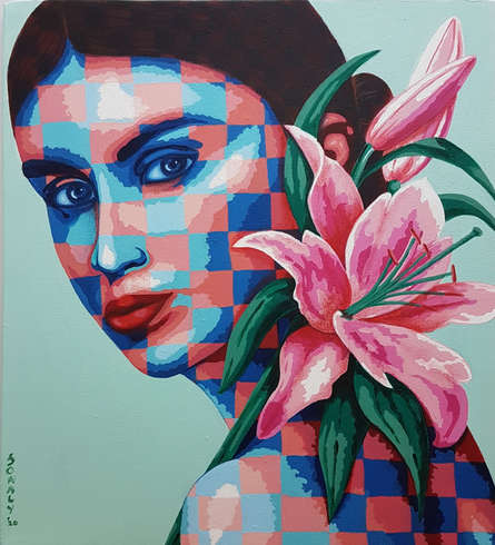 Figurative Acrylic Art Painting title 'Lady And Lilies' by artist Sonaly Gandhi