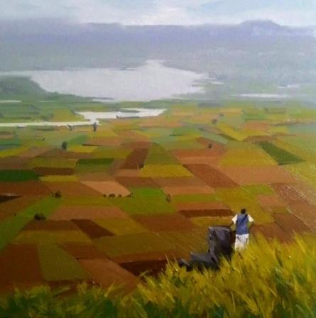 Landscape Oil Art Painting title 'Landscape 2' by artist Suraj Lohar