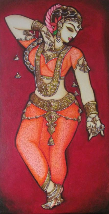 Figurative Acrylic Art Painting title 'Dancing Woman' by artist Rahul Phulkar