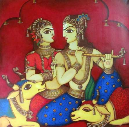 Religious Acrylic Art Painting title Radha Krishna 1 by artist Rahul Phulkar