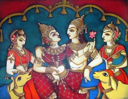 art, beauty, acrylic, painting, canvas, religious, god, radha krishna