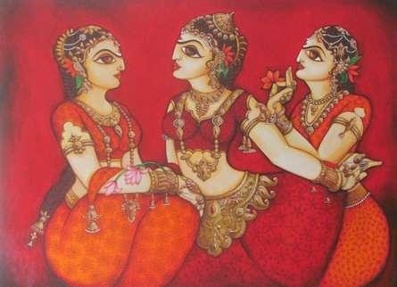 Figurative Acrylic Art Painting title 'Women Gossiping' by artist Rahul Phulkar