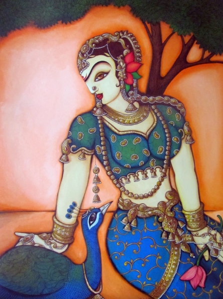 Woman With Peacock | Painting by artist Rahul Phulkar | acrylic | Canvas