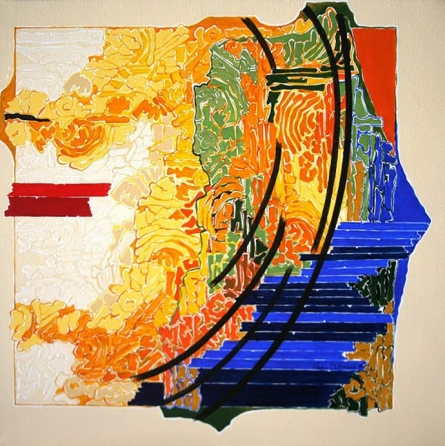 Abstract Acrylic Art Painting title 'Symphony in Yellow 1' by artist Veena Chitrakar