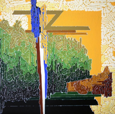 Veena Chitrakar | Acrylic Painting title Symphony in Green Yellow on Canvas | Artist Veena Chitrakar Gallery | ArtZolo.com