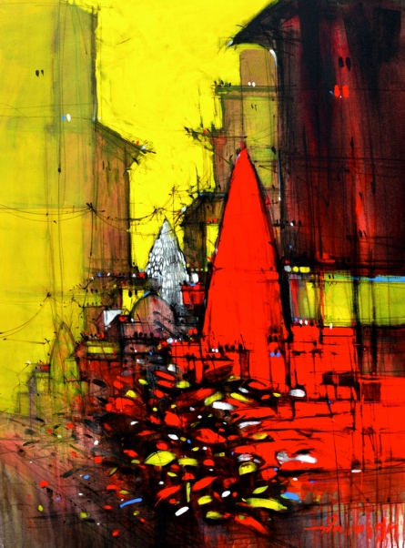 Cityscape Mixed-media Art Painting title 'Abstract Cityscape 1' by artist Dheeraj Yadav