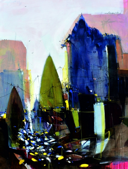 Cityscape Mixed-media Art Painting title 'Abstract Cityscape 3' by artist Dheeraj Yadav
