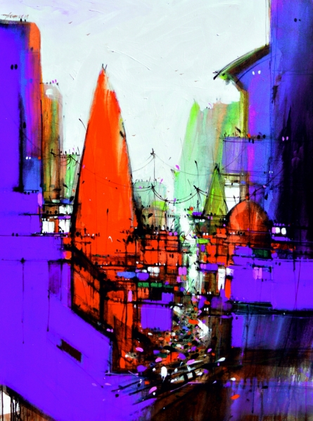 Cityscape Mixed-media Art Painting title 'Abstract Cityscape 4' by artist Dheeraj Yadav