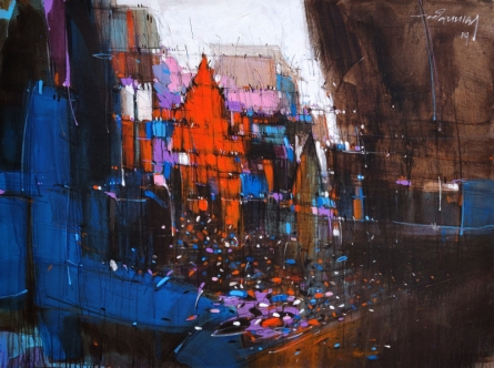 Cityscape Mixed-media Art Painting title 'Abstract Cityscape 6' by artist Dheeraj Yadav
