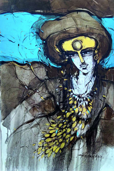 Figurative Mixed-media Art Painting title 'Untitled 1' by artist Dheeraj Yadav