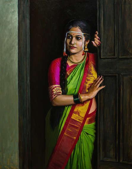Figurative Oil Art Painting title A Waiting by artist Mahesh Soundatte
