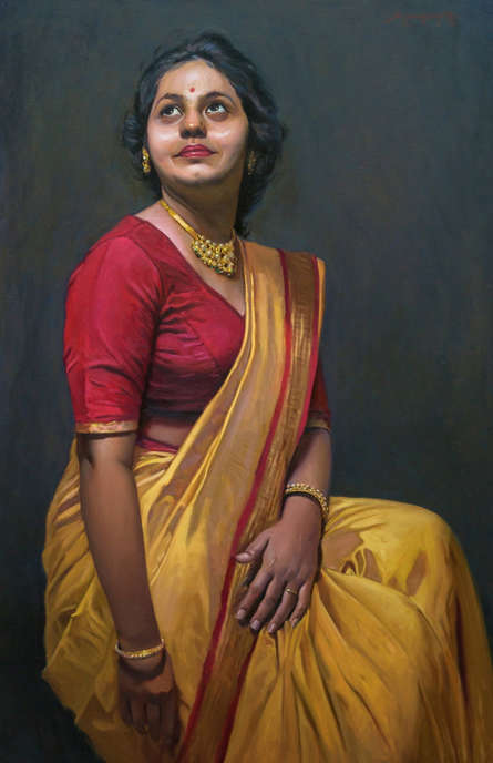 Figurative Oil Art Painting title 'Adoring The Beauty' by artist Mahesh Soundatte