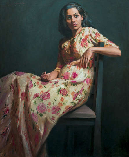 Figurative Oil Art Painting title 'Awaiting You My Love' by artist Mahesh Soundatte